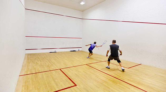 Squash Court with Players